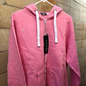 Out of Gas, pink hoodie jacket